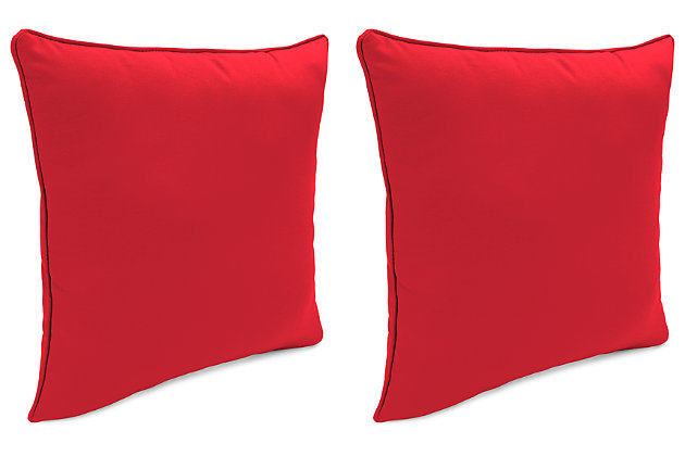 "Home Accents 17"" x 17"" Outdoor Sunbrella® Pillow (Set of 2), Red, large"