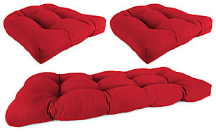 Home Accents Wicker Tufted Cushion Set (Set of 3), Red, rollover