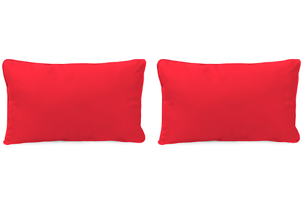 """Home Accents 20"""" x 13"""" Outdoor Sunbrella® Pillow (Set of 2), Red, large"""