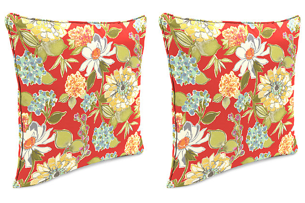 "Home Accents 24"" x 24"" Outdoor Pillow (Set of 2), Floral, large"
