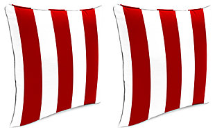 "Home Accents 24"" x 24"" Outdoor Pillow (Set of 2), Red/White, large"