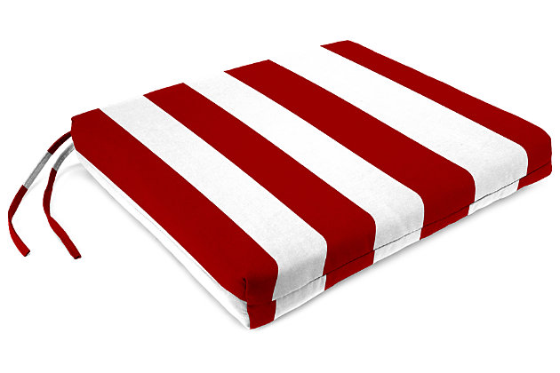 "Home Accents 21"" x 19"" French Edge Seat Cushion, Red/White, large"