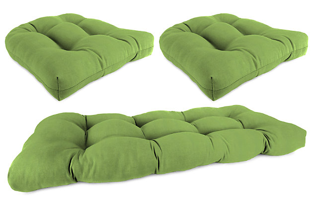 Home Accents Wicker Tufted Cushion Set (Set of 3), Green, large