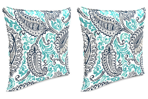"Home Accents 24"" x 24"" Outdoor Pillow (Set of 2), Paisley, large"