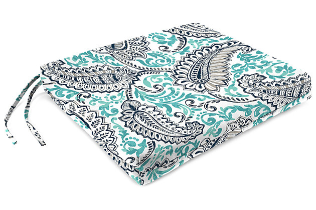 """Home Accents 21"""" x 19"""" French Edge Seat Cushion, Multi, large"""