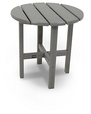 "POLYWOOD Round 18"" Side Table, Slate, rollover"