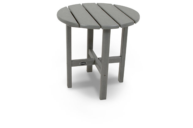 "POLYWOOD Round 18"" Side Table, Slate, large"