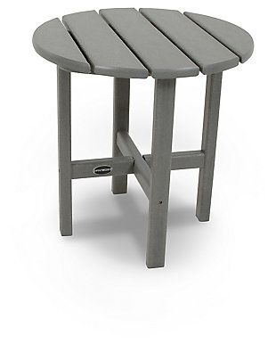"""POLYWOOD Round 18"""" Side Table, Slate, rollover"""