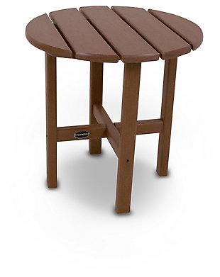 """POLYWOOD Round 18"""" Side Table, Teak, large"""