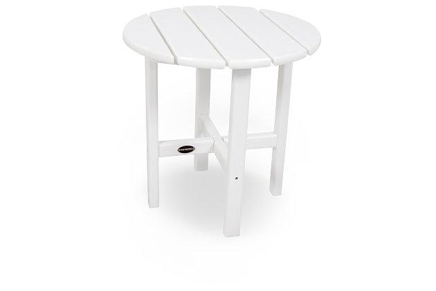 "POLYWOOD Round 18"" Side Table, White, large"