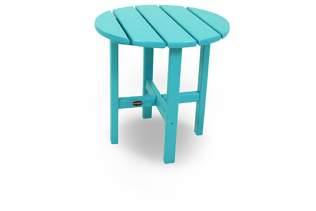 "POLYWOOD Round 18"" Side Table, Turquoise, large"