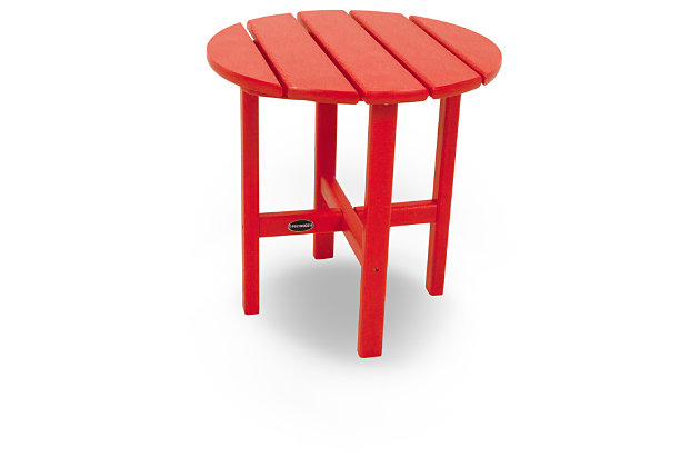 "POLYWOOD Round 18"" Side Table, Red, large"