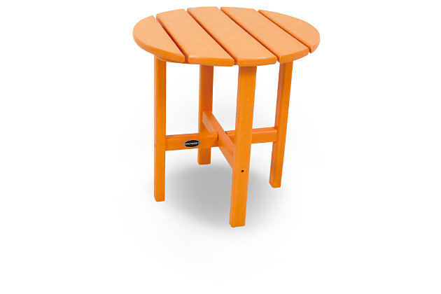 "POLYWOOD Round 18"" Side Table, Tangerine, large"