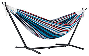 Patio Double Hammock with Stand, Denim, large