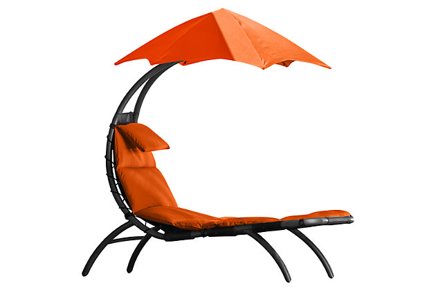 Patio Lounge Chair with Cushion, Orange, large