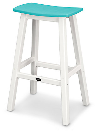 POLYWOOD Emerson All Weather Bar Stool, Turquoise/White, rollover