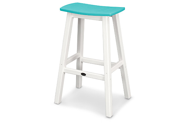 POLYWOOD Emerson All Weather Bar Stool, Turquoise/White, large