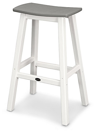 POLYWOOD Emerson All Weather Bar Stool, White/Gray, large
