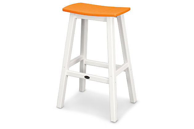 POLYWOOD Emerson All Weather Bar Stool, Tangerine, large