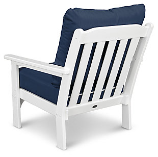 POLYWOOD Emerson All Weather Deep Seating Chair, White/Blue, large