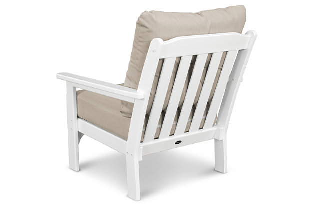 POLYWOOD Emerson All Weather Deep Seating Chair, White/Gray, large