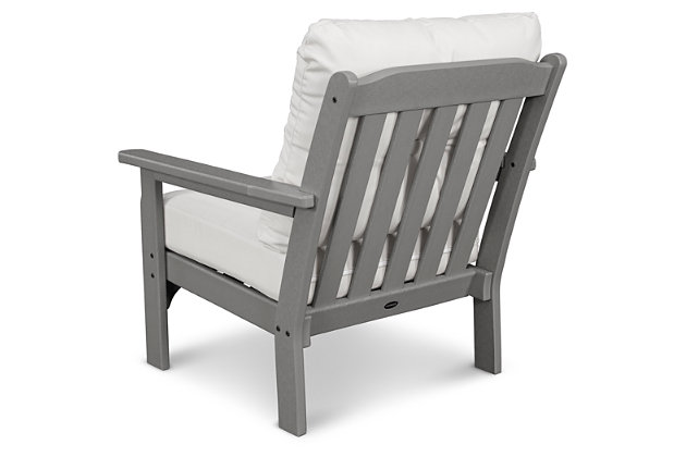 POLYWOOD Emerson All Weather Deep Seating Chair, Natural/Gray, large