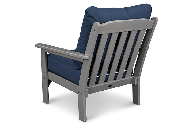 POLYWOOD Emerson All Weather Deep Seating Chair, Gray/Blue, large