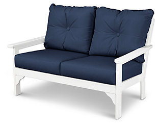 POLYWOOD Emerson All Weather Deep Seating Settee, White/Blue, large