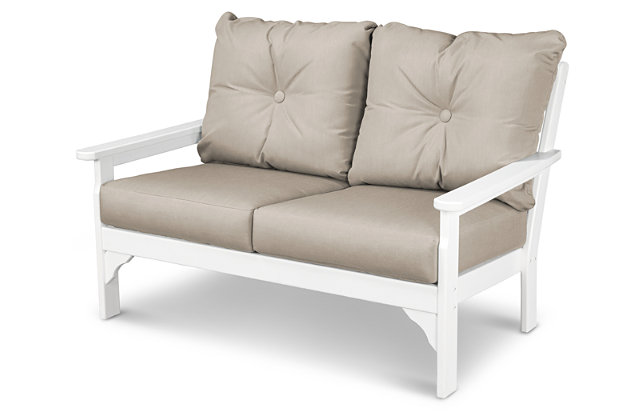 POLYWOOD Emerson All Weather Deep Seating Settee, Ash, large