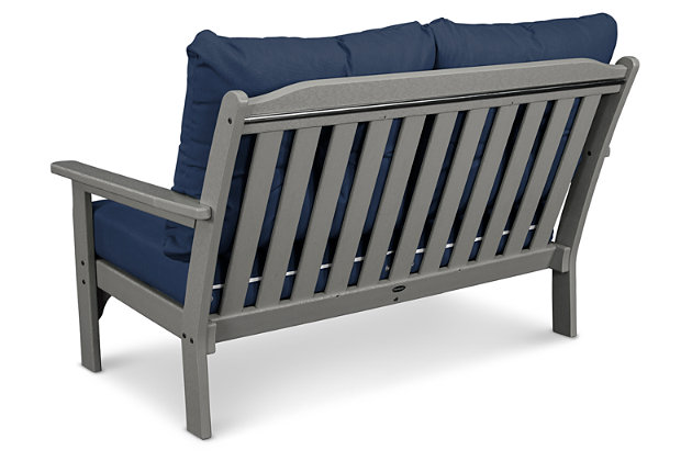 POLYWOOD Emerson All Weather Deep Seating Settee, Blue/Gray, large
