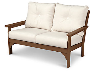 POLYWOOD Emerson All Weather Deep Seating Settee, Linen, rollover