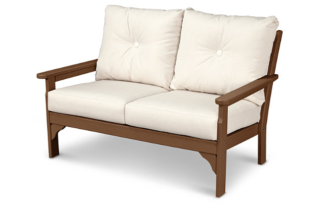 POLYWOOD Emerson All Weather Deep Seating Settee, Linen, large