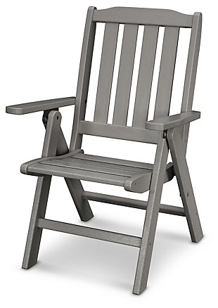 POLYWOOD Emerson All Weather Folding Chair, Slate, rollover