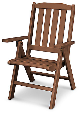 POLYWOOD Emerson All Weather Folding Chair, Teak, large