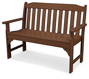 "POLYWOOD Emerson All Weather 48"" Bench, Teak, rollover"