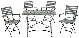 Safavieh Lawndale Outdoor Dining (Set of 5), Ash, large