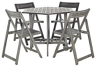 Ellyne Table and 4 Chairs (Set of 5), Gray, large