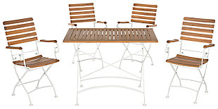 Halsted Outdoor Dining (Set of 5), Teak, large