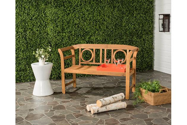 Safavieh Moorpark 2-Seat Bench, Teak, large