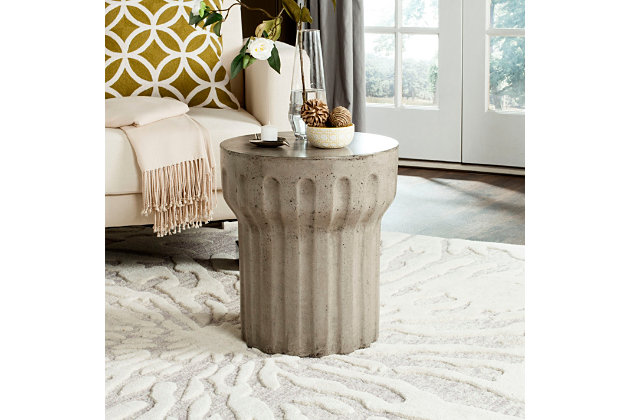 Reganne Concrete Accent Table, Dark Gray, large