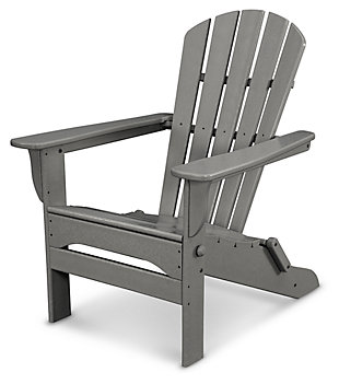 POLYWOOD Emerson All Weather Shellback Adirondack Chair, Slate, large