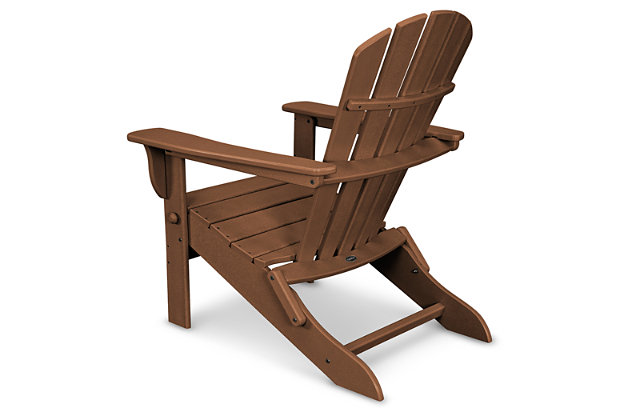 POLYWOOD Emerson All Weather Shellback Adirondack Chair, Teak, large