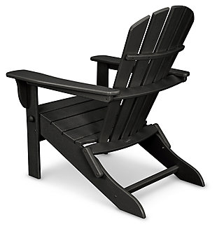 POLYWOOD Emerson All Weather Shellback Adirondack Chair, Black, large