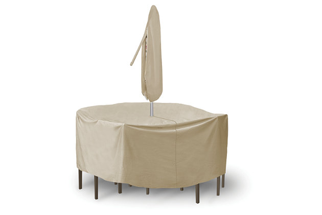 "Patio Round 60"" Table, High Back Chairs and Umbrella Cover, , large"