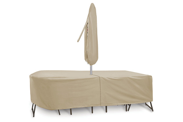 """Patio Oval/Rectangular 72""""- 76"""" Table, Chairs and Umbrella Cover, , large"""