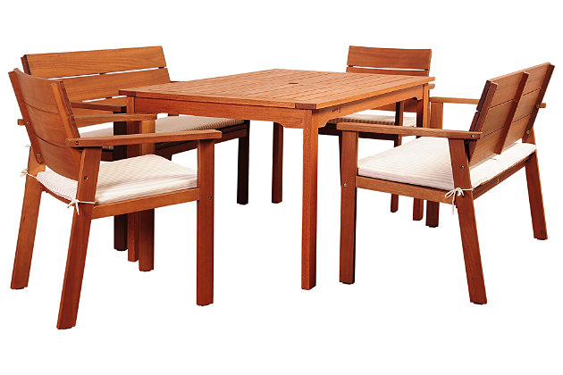 Nelson 5-Piece Eucalyptus Rectangular Dining Set, , large