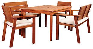 Amazonia 5-Piece Eucalyptus Rectangular Dining Set, , large