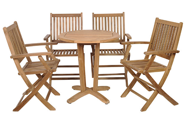 Yogya 5-Piece Teak Round Patio Bistro Set, , large