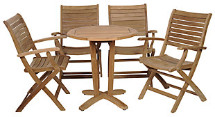 Amazonia 5-Piece Teak Round Patio Bistro Set, , large