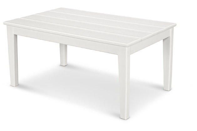 POLYWOOD Newport Coffee Table, White, large